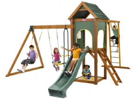Kudu Kids Large Wooden Play and Swing Garden Set